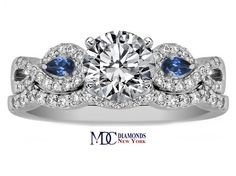 Engagement Ring - Infinity Engagement Ring & matching Wedding Ring Blue Sapphire Pear Accents, 0.70 tcw. - ES919BSBS
