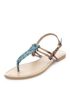 Light Blue Metal Bar Snakeskin Sandals | New Look