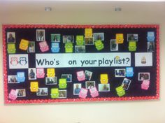 "Fun Music Bulletin Board for back to school. I take a pic of faculty and they write on the ipod their answer to the question. Kids love seeing what kind of music their teachers are ""in"" to!"