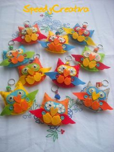 Felt owl key chains