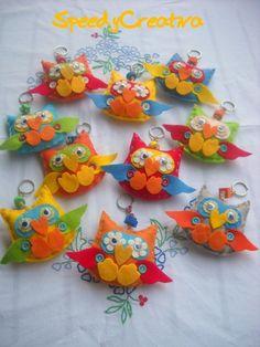 Felt owl key chains