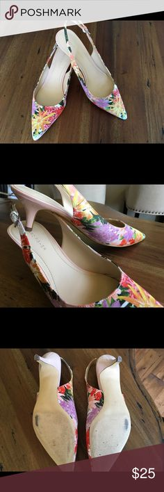 Marc Fisher Kitten Heel Beautiful floral sling back kitten heels. Worn once. Small place on one of the heels, shown in last pic. Marc Fisher Shoes
