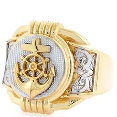 8e593d86909c4e Nautical Jewelry  Two Tone Gold Anchor Navy Round Fancy Mens Ring
