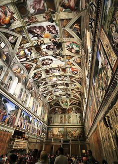 Sistine Chapel, province of Rome, Lazio region, Italy (somebody took a photo when they weren't supposed to! But Capela Sistina is breathtaking, to be sure) Places Around The World, Oh The Places You'll Go, Places To Travel, Around The Worlds, Wonderful Places, Beautiful Places, Visit Rome, Rome Florence, Voyage Rome