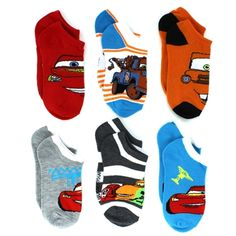 Disney Cars Boys 6 pk No Show Socks. Great gift for Valentine's Day or Easter! www.YankeeToyBox.com #yankeetoybox #ytb #disney #cars #disneycars #lightningmcqueen #towmater Lightning McQueen and Tow Mater