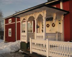 . Scandinavian Cottage, Swedish Cottage, Red Cottage, Swedish House, Porch Trim, Norway Design, Red Houses, House Trim, Victorian Homes