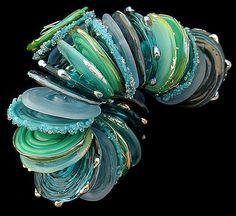DSG Beads Handmade Organic Lampwork Glass Made To Order - Teal Discs by Debbie Sanders Glass