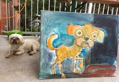 Day Dog (left) fighter of the Night Dog (right)... Art watercolor acrylic doodle art painting artistsoftumblr watercolor