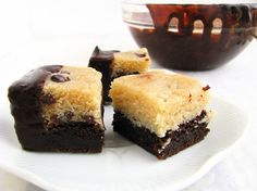 Chocolate Dipped Brownies topped with Raw Cookie Dough (Gluten/Grain/Dairy/Soy/Egg Free). With directions to make Sugar Free & with Carob