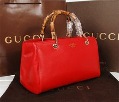 9221ac6aea Gucci Bamboo Tote Bag Original Calf Leather 323660 Red -  199.8 Burberry  Limited