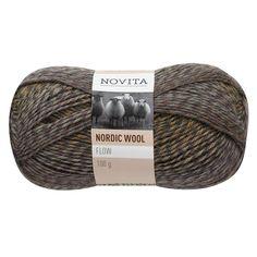 Novita Nordic Wool Flow Garn Ullgarn 100 g khaki 034 Vit, Flow, The 100, Beige, Threading