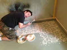 LOVE her stencils! Stenciling a Concrete Floor with Royal Design Studio Stencils and Chalk Paint® decorative paint by Annie Sloan Painted Floors, Painted Furniture, 1930s Furniture, Furniture Design, Concrete Furniture, Painted Stairs, Wood Walls, Deco Furniture, Funky Furniture
