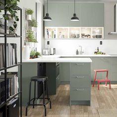 Green Kitchen, New Kitchen, Living Room Remodel, Kitchen Remodel, Cook Up A Storm, Living Room Kitchen, Decoration, Kitchen Design, Interior Inspiration