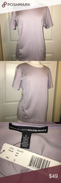 Linda Allard Ellen Tracy 1X lilac grey tshirt top From Bloomingdales with POP label and quite a few years ago but still new with tags - Linda Allard for Ellen Tracy - size 1x - tag calls it lilac but I think it's more silver grey with a hint of sheen to it - gorgeous dressy Classic tshirt style short sleeve top - 61% cotton 35% poly 4% spandex for a little give to fit the curves - new with tags and smoke free home - this closet does not trade Ellen Tracy Tops Tees - Short Sleeve