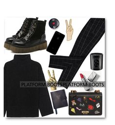 """""""#platformboots"""" by itgirlcarlota ❤ liked on Polyvore featuring Steffen Schraut, Burberry, Moschino, Lucky Brand, Smythson, Diptyque, Bing Bang and PlatformBoots"""