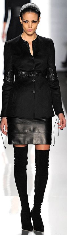 Chado Ralph Rucci F/W 2013/2014 - black leather w/ OTK boots