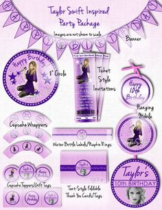 """PRINTABLE TAYLOR SWIFT Inspired Party Package Includes Ticket Style Invitations- Everything customized with your personal party details.  Banner, mobile, cupcake toppers & wrappers, gift tags, thank you cards, bottle labels and 8"""" circle.  I design it.  Email it.  You print it!"""