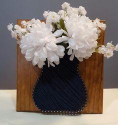 String Art Vase with Flowers Handmade by Kristiestringart on Etsy