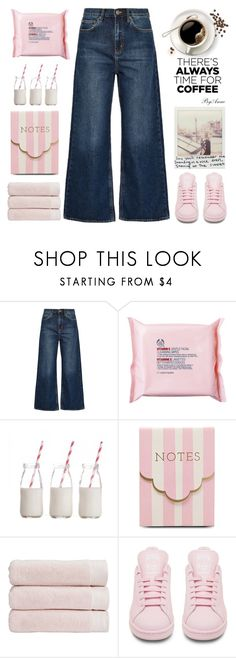 """Coffe time❤️"" by anne-977 ❤ liked on Polyvore featuring M.i.h Jeans, The Body Shop, Dress My Cupcake, Meri Meri, Christy, adidas and CoffeeDate"