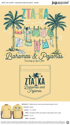 Zeta Tau Alpha Bahamas and Pajamas Shirt | Sorority Bahamas and Pajamas Shirt | Greek Bahamas and Pajamas Shirt #zetataualpha #zeta #zta #Bahamas #and #Pajamas #Shirt Social Themes, Zeta Tau Alpha, Custom Design Shirts, Sorority And Fraternity, Pajama Shirt, Robins Egg, Color Shorts, Mixers, Comfort Colors