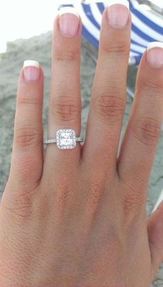 Awesome Princess Cut Halo Engagement Ring