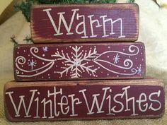 Primitive Snowflake Warm Winter Wishes Christmas 3pc Shelf Sitter Wood Block Set #PrimtiveCountry