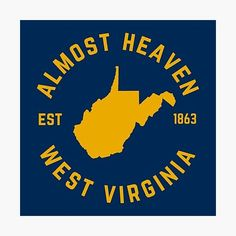 West Virginia University, State Map, Blue Canvas, Canvas Prints, Art Prints, Vibrant Colors, Heaven, Wall Art, Printed