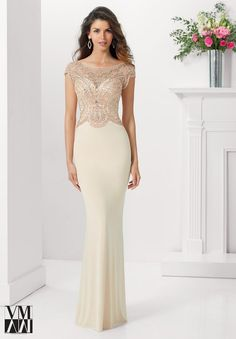 Mori Lee VM 71130 Jersey Floor-Length Skirt Semi-Open Back - Fit and Flare, Scoop