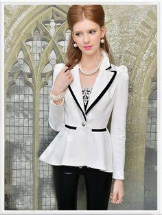 Morpheus Boutique  - White Shoulder Long Sleeve Hem Pleated Jacket