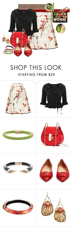 """""""Sushi Night Out"""" by sheila1914 ❤ liked on Polyvore featuring Topshop, Carolina Bucci, Alexis Bittar, Rupert Sanderson, asian, foodinspired and asianinspired"""