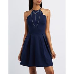 Charlotte Russe Scalloped Bib Neck Skater Dress ($35) ❤ liked on Polyvore featuring dresses, navy, navy skater skirt, flared skater skirt, flared skirt, blue dress and charlotte russe dresses