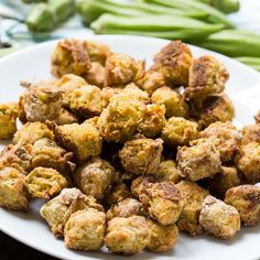 Baked Fried Okra is a healthier way to enjoy southern fried okra but it still has a delicious crispy coating. Super easy to make too with hardly any clean-up! Okra Recipes, Vegetable Recipes, Cooking Recipes, Vegetable Ideas, Baked Fried Okra, Vegetarian Recipes Easy, Healthy Recipes, Healthy Eats, Vegan Vegetarian