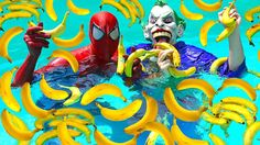 Learn colors with baby Banana Pool Spiderman for children Song finger fa...