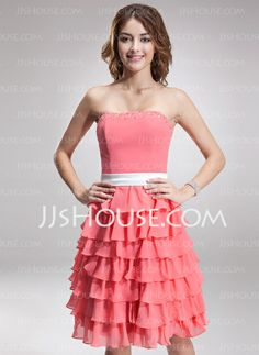Bridesmaid Dresses - $108.99 - A-Line/Princess Strapless Knee-Length Chiffon Charmeuse Bridesmaid Dress With Sash Beading (007000922) http://jjshouse.com/A-Line-Princess-Strapless-Knee-Length-Chiffon-Charmeuse-Bridesmaid-Dress-With-Sash-Beading-007000922-g922