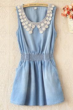 Sweet Crochet Peter Pan Collar Denim Dress OASAP.com