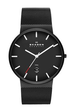 Skagen 'Ancher' Round Mesh Strap Watch, 39mm available at #Nordstrom
