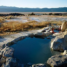 California's Eastern Sierra natural hot springs - Sunset Fall