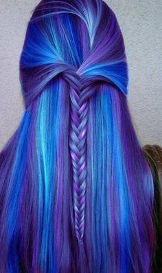 Blue purple hair with braid