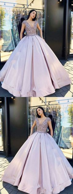 ball Gown V-Neck Floor Length Blush Satin Quinceanera Dress with Lace Beading, Shop plus-sized prom dresses for curvy figures and plus-size party dresses. Ball gowns for prom in plus sizes and short plus-sized prom dresses for