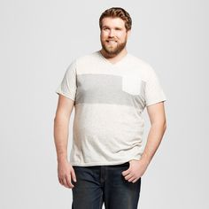 Men's Big & Tall V-Neck T-Shirt Cream Xxxlt - Mossimo Supply Co., Size: Xxxl Tall, Light Cream