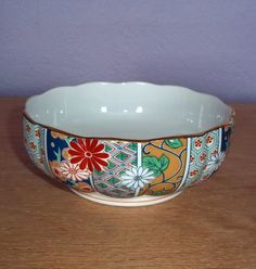 Vintage Arita Fine China Imari Fan Pattern Small Serving Bowl - Scalloped Edge - Made in Japan - Hand Painted Porcelain Bowl Mint Condition