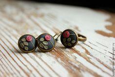 Rose 2 earrings & ring - manual decoration, original decoration, flowers, botanical, illustration