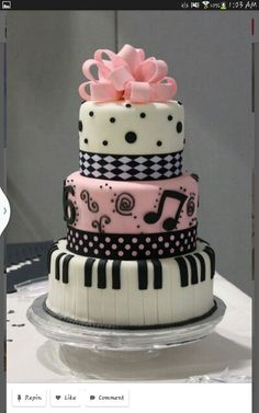 Pretty Image of Sweet 16 Birthday Cake . Sweet 16 Birthday Cake Sweet 16 Cakes Decoration Ideas Little Birthday Cakes Pretty Cakes, Cute Cakes, Beautiful Cakes, Amazing Cakes, Piano Cakes, Music Cakes, Music Themed Cakes, Fondant Cakes, Cupcake Cakes