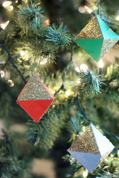 DIY geo glitter ornaments. these have been well liked.