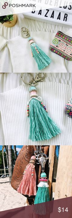 •Boho Decorative Tassel Keychain• Beautiful decorative tassel keychains featuring beautiful vibrant beading. Add a boho vintage vibe to your handbag or keys with these beautifully crafted keychains.   •Color: Turquoise •Material: Antique Silver Plated  •Style: Tassel Keychain  •Closure: Lobster Clasp & Keyring  •Measurements: 5 in long   •Photos are of actual product  •Price is firm  •10% discount on bundles of two or more  •Photo Credit: The Wanderlust Bazaar  •Bohemian, boho, keychain…