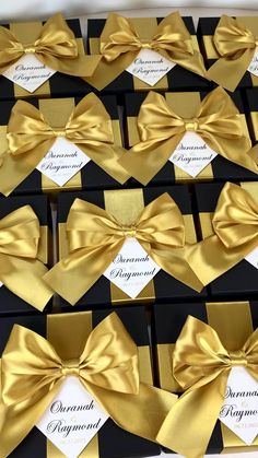 Black & Gold wedding gift box with satin ribbon bow and custom names, Elegant personalized favors for wedding guests. #welcomebox #giftbox #personalizedgifts #weddingfavor #weddingbox #weddingfavorideas #bonbonniere #weddingparty #sweetlove #favorboxes #candybox #elegantwedding #partyfavor #weddingwelcome #goldwedding #blackandgold #gatsbywedding #gatsby #uniqueweddingfavors Green Wedding Invitations, Custom Wedding Favours, Wedding Gift Bags, Wedding Gifts For Guests, Beach Wedding Favors, Bachelorette Party Favors, Wedding Favor Boxes, Personalized Wedding Favors, Wedding Ideas