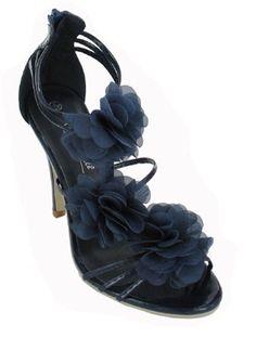 LADIES NAVY BLUE RUFFLE FLOWER EVENING HEEL SANDALS