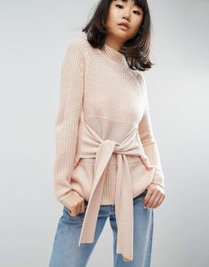 ASOS Sweater with Wrap Corset Detail - Pink