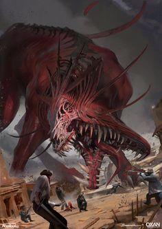 red riding big bad wolf by yohann schepacz oxan studio Sparrow Volume Monster Art, Fantasy Monster, Monster Design, Beast, Dark Fantasy, Fantasy Art, Illustration Fantasy, Arte Obscura, Big Bad Wolf