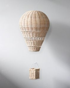 Rattan Hot Air Balloon Gives 9 meals – Odin Parker Fall Garland, Rose Garland, Balloon Basket, Air Ballon, Wooden Wall Decor, Wooden Art, Boys Room Decor, Baskets On Wall, Balloon Decorations